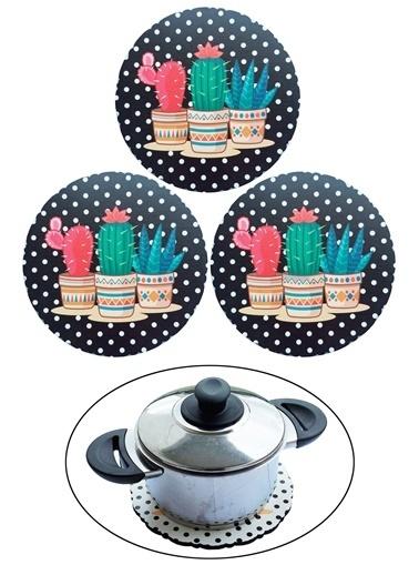 Kitchen Love 3 Adet Kaktus Desenli Ahşap Nihale-Syh Siyah